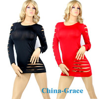 Wholesale Sexy lingeries Cut Out Barracuda Quarter Sleeves Club Dress Lady Stripe Dress lingerie XY