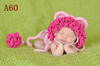 Wholesale 2013 New Arrival Baby crochet set children handmade hats and diaper sets kids pink lion style caps
