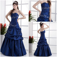 Wholesale Hot sale Strapless A line Elastic satin Pleated Beading Bandage Dark Navy Quincenera dresses Floral