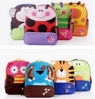 Wholesale HOT SALE Fashion Baby Cartoon animals canvas bag pupil Backpack double shoulder pack