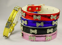 Wholesale Mixed colors Bling Bone Rhinestone Metallic Pet Dog Cat Collars for Small Sizes