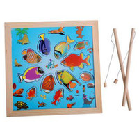 Wholesale Hot sale educational wooden toy see animal shaped magnetic fishing game children love most