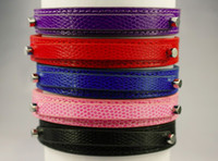 Wholesale colors Personalized Snakeskin Leather Puppy Dog Cat Collars Rhinestone Buckles mm letter