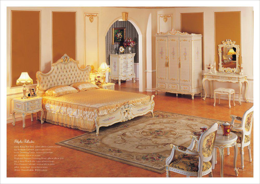2017 Antique Hand Carved Wood Furniture Baroque Leaf Gilding Bedroom Furnitur