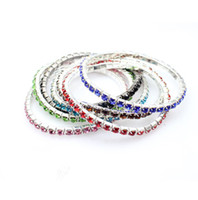 Wholesale Colorful Crystal Single Row Womens Stretch Rhinestone Bracelet Bangle