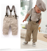 Wholesale Babys Outfits Summer Gentleman Children Clothing Kids Clothes Stripe short T braces casual pants