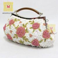 Cheap Women flower evening bag Best Floral Velour bead clutch bag