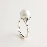 Wholesale 925 Silver Gemstone Sexy Big White Pearl Promise Wedding Engagement Rings Ring Style Jewelry RIP023