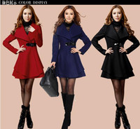 Women Middle_Length Cotton Hot women cashmere overcoat silm long thick woolen women coat outwear