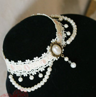 Vintage White Pearl Lace Princess Bride Necklace Jewelry Cho...