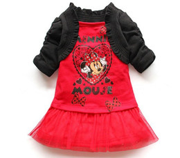 Wholesale Children girl s Cartoon princess dresses shawl Minnie dress sets pink girls Minnie dress