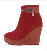 Wholesale New arrival fashion specials noble platform snake slope Martin wedge ankle boots EU35