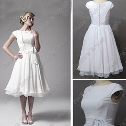 Wholesale Destination Wedding Dresses Vintage s A Line Tea Length with Short Cap Sleeves Bateau Chiffon Real Beach Bridal Dress