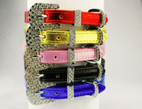 Wholesale Mixed Sizes Personalized Metallic Leather Dog Collar Rhinestone Bucklet for Small Medium Dogs