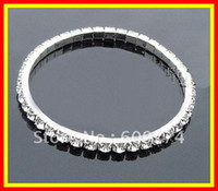 Wholesale Cheap Ruby Rhinestone Row Stretch Bangle Bracelet Wedding Party Jewelry Bridal Accessories