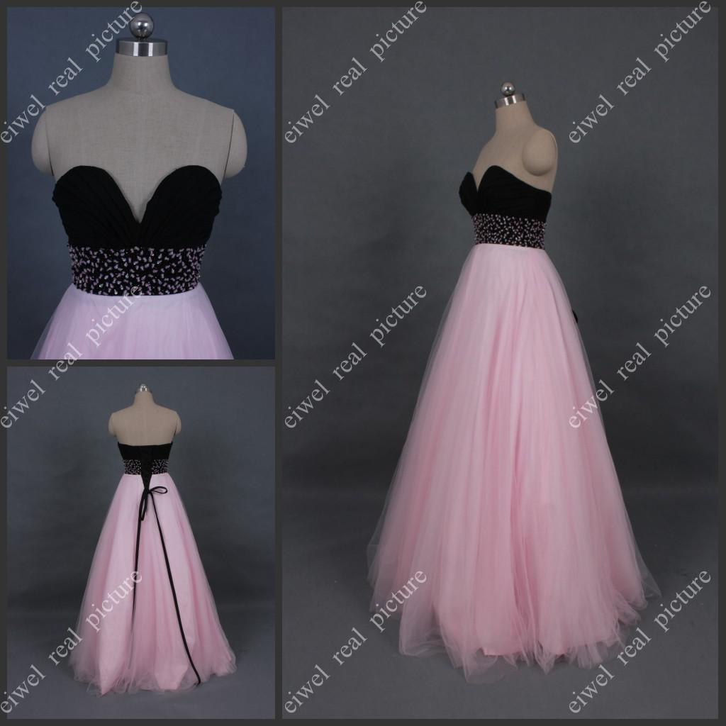 Black And Pink Prom Dresses Floor Length Beaded A Line Sweetheart ...