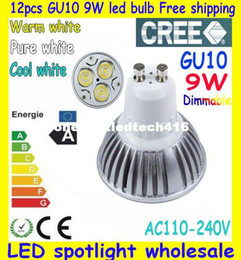 12X High power CREE GU10 3x3W 9W 110 220V Dimmable Light lamp Bulb LED Downlight Led Bulb Warm Pure