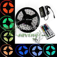 Wholesale 5pcs RGB LED Strip light Key IR Remote Controller V A adaptor power supply String