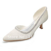 Wholesale White Ivory Pointed Toe Diamante Mid High Heels Womens Pump Stiletto Wedding Shoes