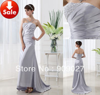 Wholesale New Arrival Sale Cheap In Stock Silver Satin Beads Evening Dresses Formal Gowns SD010
