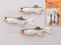 Hard Baits other other 30X 70mm 4g (3pcs=1bag) SeaWolf black white Soft Baits Orange Worm Soft Unrigged Plastic Swimbaits Fishing Lures
