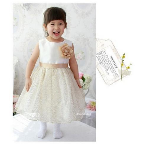 2017 Kids Skirts Children Clothing Cream Colored Princess