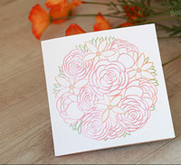 Wholesale Customized white yellow print flowers peony wedding invitation out card fold invitations card favor