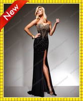 Wholesale White and Black Mermaid Sweetheart Gold Beads Bling Bling Prom Dresses Shiny Sexy Slit Evening Gowns