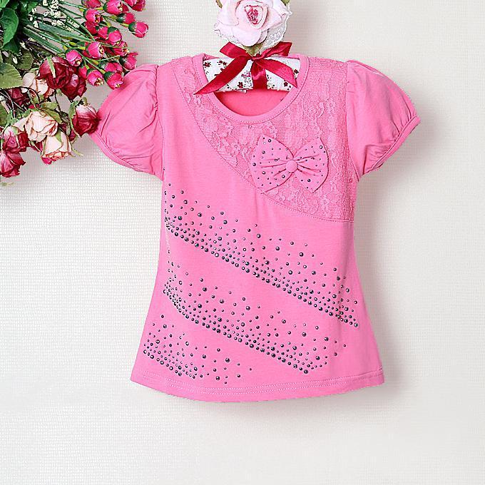 2013 New Girls Clothes Cute T Shirts Hot Pink Summer Shirt Kids ...