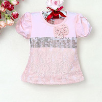 Wholesale 2013 New Baby Girl Tshirt Pink Printed With Lace and Bow Design For Kids Wear E121225