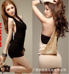 Wholesale 2013 Fashion women sexy party dress shining paillette decorated backless Hang neck skirt Club Wear