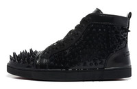 Lace-Up Unisex Spring and Fall New 2014 Men and Women's Black Patent Leather Mixed Spikes High Top Sneakers Shoes Men Flat Street Causal Shoes 38-46