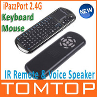 Wholesale iPazzPort G Mini Wireless Keyboard Mouse Touchpad IR Remote amp Voice Speaker Microphone QWERTY wit
