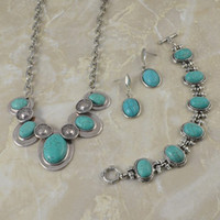 Wholesale Vintage Jewelry Sets Tibetan Silver Turquoise Beads Earrings Bracelets Necklaces costume jewelry wom