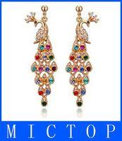 Wholesale Color Full Diamond Crystal Peacock Earrings Tassel Peacock Earrings