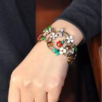 Wholesale USA EMS Free ship Fashion Vintage Dragonfly ladybug Beetle Flower Rhinestone Pendant Bracelet
