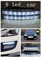 8 LED Front Led Stripes Free shipping 2pcs 8 LED Universal Car Light DRL Daytime Running Head Lamp Super White#A0002