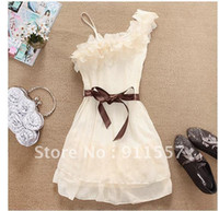 Wholesale Women One Shoulder Sweet Pleated Party Chiffon Dress C0002