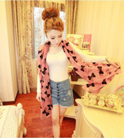 Wholesale New arrivals Korea Fashion Cure Black BIG BUTTERFLY Jacquard chiffon scarf R328