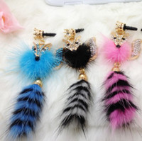 Wholesale 2013 Mink Crystal fox pendant phone dustproof plug earphone dust plug