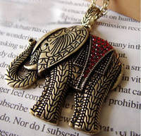 Wholesale Lovely Retro Diamonds Elephant Necklace Punk Animal Long Sweater Alloy Pendants Jewelry Mix Colors