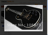Wholesale Les Custom ebony board Electric Guitar black Excellent Quality