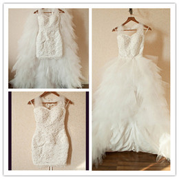 Wholesale 2014 New Arriva Front Short Back Long Beads Removable Train Custom Made Wedding Dress Bridal Gown