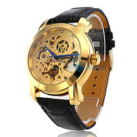 Wholesale Hot Automatic Mechanical Black Leather Band Wrist Men Watch with Golden Hollow Engraving Dial