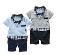 Wholesale Children Romper baby clothes boy short sleeve turndown collar plaid romper Jump Suit Blue Gray
