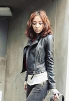 jackets - New Arrival Fashion Slim Locomotive leather jacket Women stylish short coat Winter leather outerwear