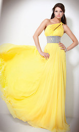 Wholesale Fast Shipping In Stock Yellow USA Size One Shoulder Chiffon Crystal Belt Evening Dress