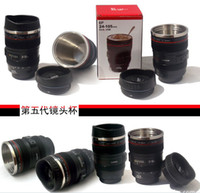 Wholesale 5Generation stainless steel liner travel thermal Coffee camera lens mug cup ML Black DHL Free