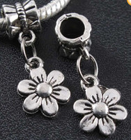 metal sunflower - 25X10mm Tibetan Silver Sunflower Dangle Big Hole Beads Loose Bead Fit European Charm Bracelets Jewelry DIY B320