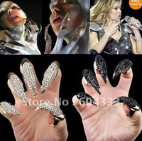 Wholesale Black amp Gold Tone Crystal Nail Ring Fashion Punk Style Claw Paw Talon Finger Nails Thumb Rings Mix size